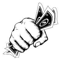 A fist tightly clutching some paper money