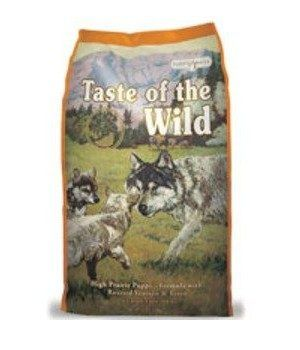 Bag of taste of the wild puppy food on white background
