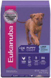 Bag of eukanuba large breed puppy on white bg