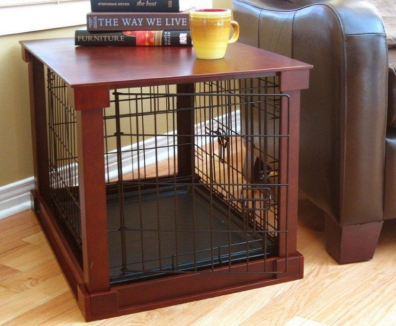 Dog crate in the house