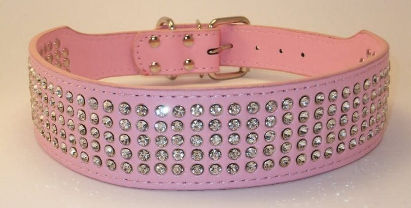 Berry 2 Wide 5 Rows Rhinestone Dog Collars PU Leather Bling Dog Collar