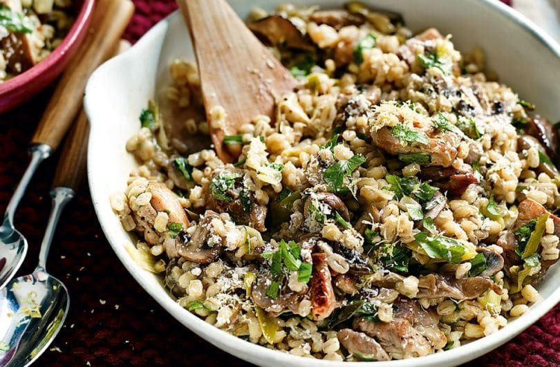 Meat with uncooked pearl barley, rice and beans