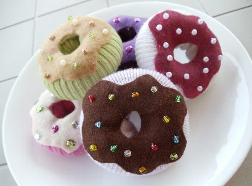 Sock donut dog toy