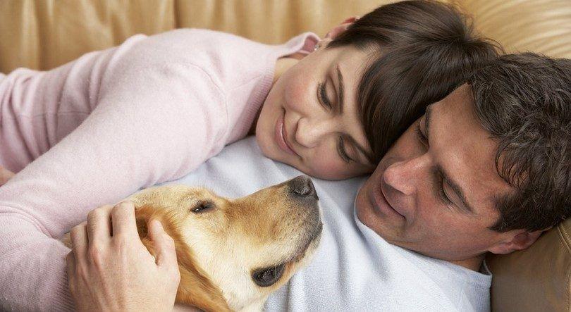 Couple and loving dog