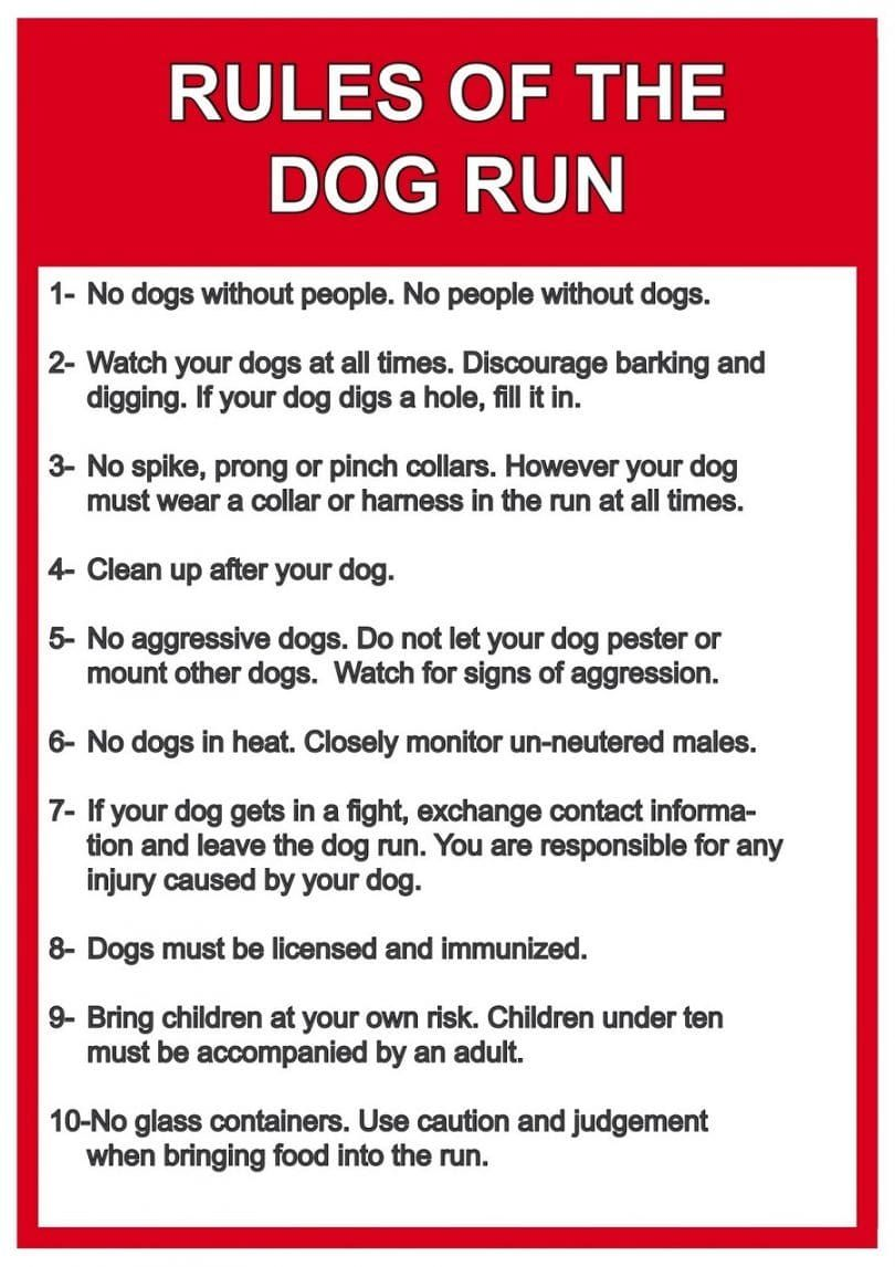 Dog Run Rules