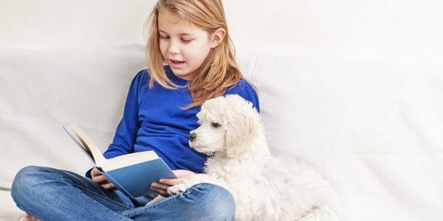 Elementary school students read to dogs
