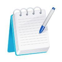 Blue notepad with a blue and white pen