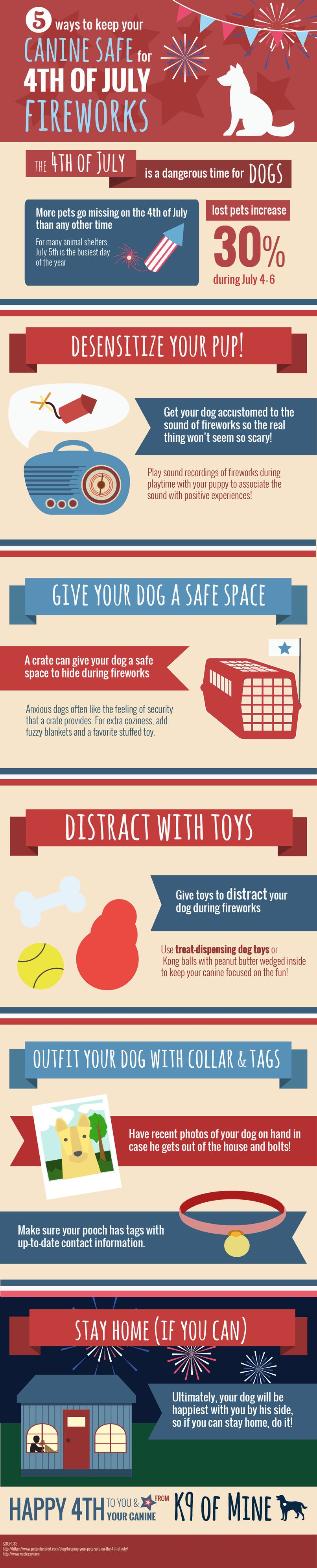 How to keep your dog safe for 4th of july fireworks [infographic]