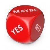Red dice with yes, no, maybe written on it