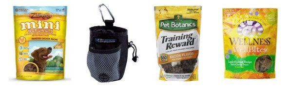 3 packets of dog treats and a treat pouch on white background