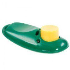 Green dog training clicker with a yellow button