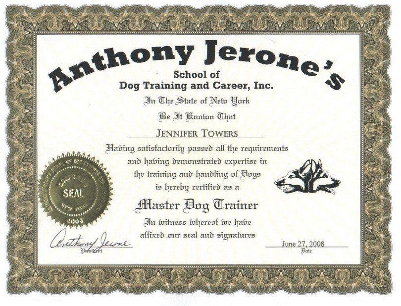 Certificate dog training