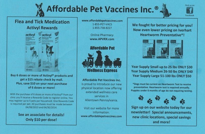 Affordable Pet Vaccine Back