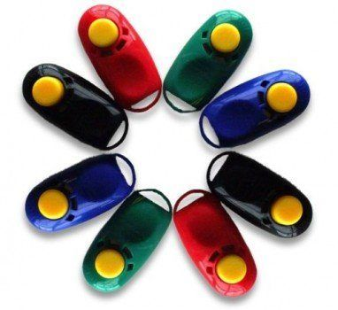 Assorted pack of 8 different color clickers arranged in a star